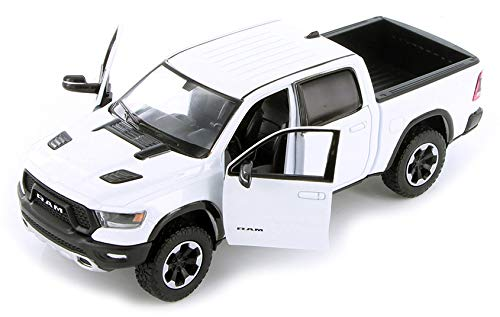 2019 RAM 1500 Rebel Crew Cab Pickup Truck White 1/24 Diecast Model Car by Motormax 79358