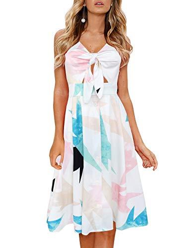 FANCYINN Dekoltee jurk met V-hals, dames, knielengte, bandjes, backless jurken, zomerjurken, strandjurken