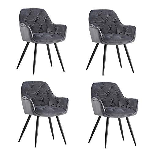 JaHECOME Sessel Esszimmerstuhl aus Stoff (Samt) Wohnzimmerstuhl Farbauswahl Retro Design Armlehnstuhl Stuhl mit Rückenlehne Sessel Metallbeine Schwarz… (Gray, 4)