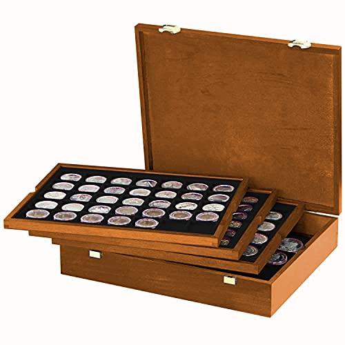 LINDNER Echtholz Münzkassette mit 4 schwarzen Tableaus für 127 Münzen unterschiedlicher Ø