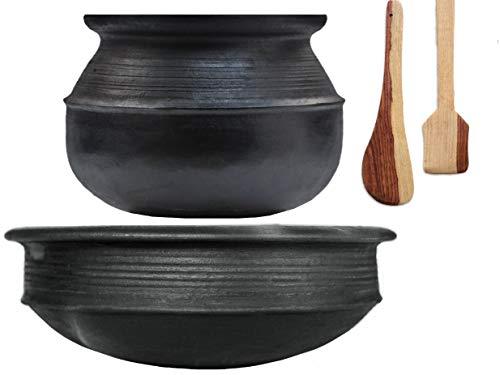 Craftsman India Online Pre-Seasoned Earthen/Clay-Handi/Kadai/Pot Combo 3 & 2 Liter