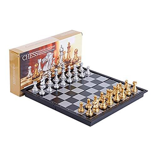 LEILEI Viaje Juego de Mesa de ajedrez magnético,Juego de Mesa de ajedrez con Tablero de Almacenamiento portátil Plegable