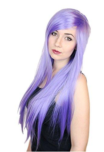 Prettyland Perruque 80cm Longue Violet-clair Rubis Raide Frange Droite Résistant à Chaleur Déguisement C918