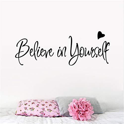 EWQHD Beileve In Yourself Love Heart Inspiration citat ord utgångsdekoration väggdekal klassrum arbetsrum rumsdekoration för barnkammare