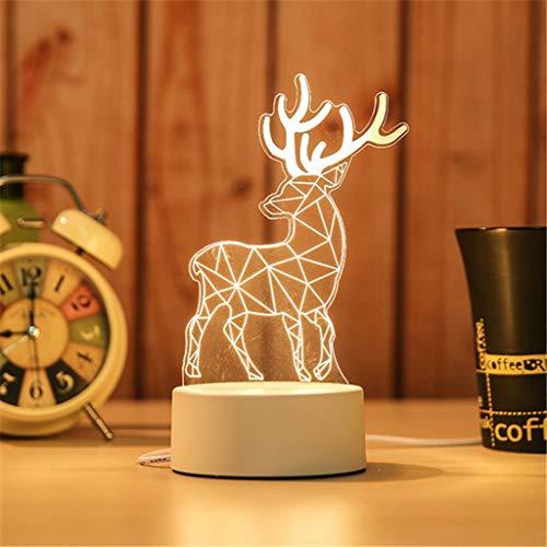 Veilleuse 3D Veilleuse USB Recharge LED Gravure Artisanat Décoration de La Maison Anniversaire Cadeau De Mariage Lampe De Chevet ZHJING (Size : Deer Type)