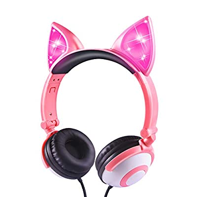 Kids Headphones, Wired LED Glowing Foldable Adjustable Over-Ear Headphones, Safe 85dB Volume Limited Cat Ear Headphones for Kindle/iPad/Children/Teens/Boys/Girls (Peach-1) from esonstyle