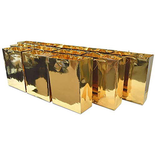 """Large Metallic Gold Paper Gift Bags with Metallic Handles, Party Favor Bags for Birthday Parties, Weddings Gifts 12 Pcs. 10x13x5"""""""