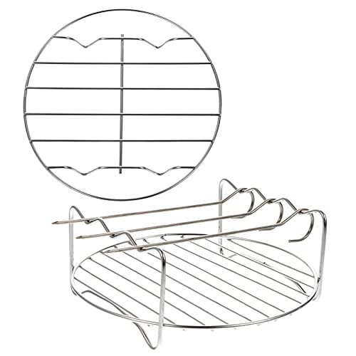 Hemoton 2 unids 7 pulgadas de alimentos vapor rack de acero inoxidable Trivet Rack Soporte de aire freidora vaporera de aire suministros para olla olla a presión