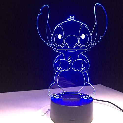 DDBBhome Cartoon Stitch 3D Lamp Bedroom Table Night Light Acrylic Panel USB Cable 7 Colors Change Touch Base Lamp Kids Gift 3D-812