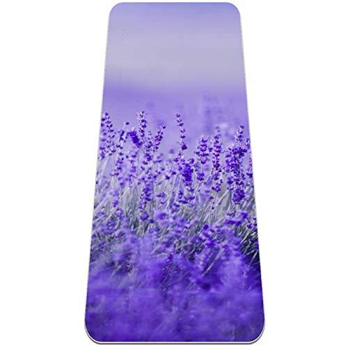 BestIdeas Esterilla de yoga con flores de lavanda morada para yoga, pilates, ejercicio de suelo para hombres, mujeres, niñas, niños, principiantes, diseño antideslizante
