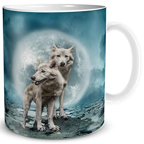 TRIOSK Fantasy Tasse Halloween Wolf mit Motiv Nebel Wölfe zauberhaft mystisch Geschenk für Gothic Hexen Zauberer Zaubertrank Magie