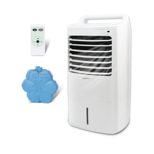 Aigostar Kohl 33JTJ - Climatizador evaporativo con mando a distancia, 60W, oscilante, 3 modos y 3 velocidades, temporizador, humidificador de aire, 2 cajas hielo, depósito de 15 l. Diseño exclusivo