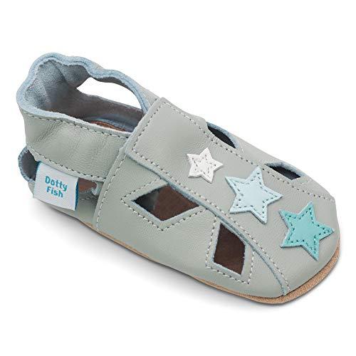 Dotty Fish Weiche Baby und Kleinkind Lederschuhe. Sandalen grau mit Sternen. 6-12 Monate (19 EU)