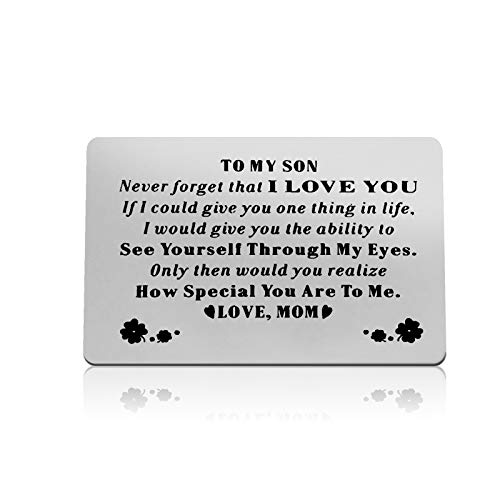Son Gifts from Mom To My Son Gifts Engraved Wallet Card Wedding Gifts for Bridegroom Deployment Gifts Inspirational Graduation Gifts for Son Engagement Christmas Birthday Encouragement Gift