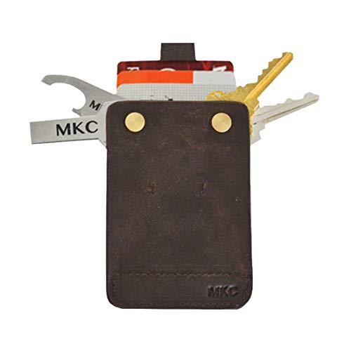 MKC Minimalist Leather Key Holder Wallet with Pull Tab - Vintage Brown
