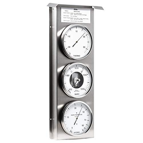 Fischer 803-01 - Außenwetterwarte - Edelstahl-Wetterstation mit Thermometer, Barometer, Haar-Hygrometer Made in Germany