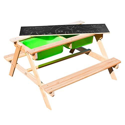 SUNNY Dual Top Kinder Sand & Wasser Picknicktisch aus FSC Holz | Wasserspieltisch & Sandtisch mit Deckel und grünen Behältern | Kindertisch / Matschtisch mit Kreidetafel für den Garten