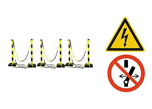 KS Tools 117.1431 117.1431-Kit délimitation Zone de Travail sur véhicule Hybride ou électrique (6 poteaux + 12,5m de chaîne + signalétique)