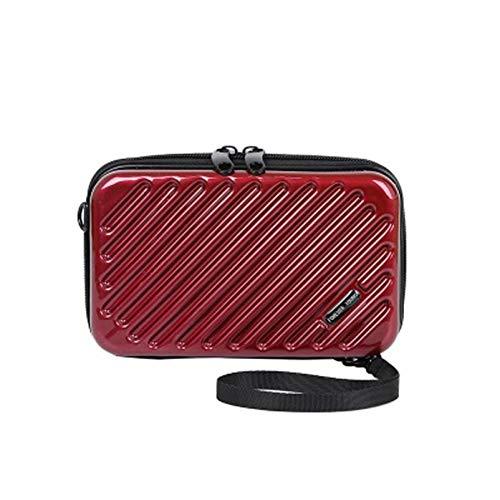 Aly Bolso de hombro para mujer-bolso diagonal de charol de cuero pu-mini bolsa-bolsa de equipaje-estuche de cosméticos de cadena para mujer bolso de cosméticos de pu (12 * 18 * 5cm, vino tinto)