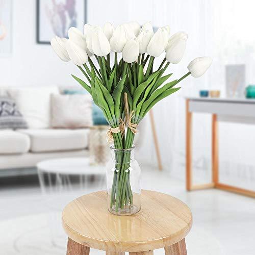 Tulipán Artificial, Flor Artificial, Vibrante Real-Like para Boda Home Shop for Garden(White)