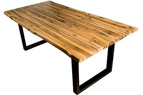 SAM Esszimmertisch 180x90 cm, Akazien-Holz geölt, Baum-Tisch, Poseidon, Outdoortisch massiv, Metallbeine Schwarz