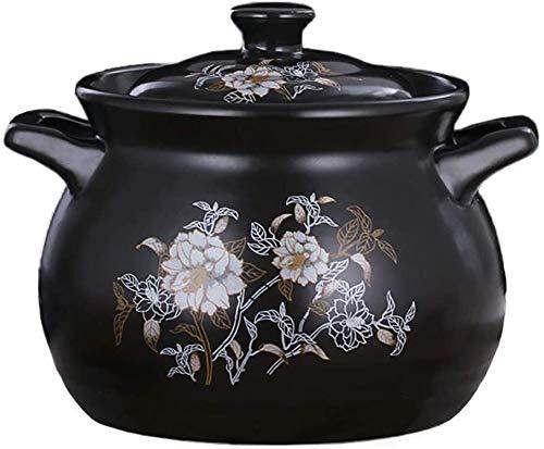 Cocottes Casserole en céramique à mijoteuse, double poignée, pot rond, pot en argile (Color : Black, Size : 5L)