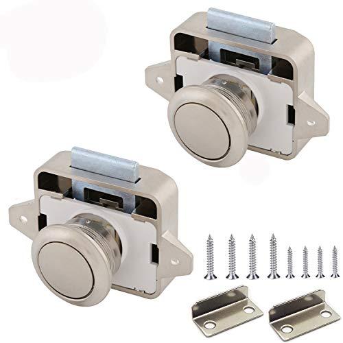 Push Lock, Taste Catch Lock 15-18mm Möbelschlosser Schloss Möbelgriff Camping Caravan Boot (2pcs Pearl Nickel)