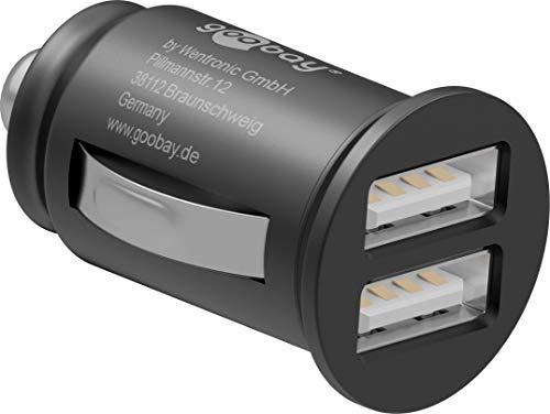 Goobay 44177 2-Port Auto / KFZ Ladegerät, Mini Zigarettenanzünder Dual USB Ladegerät, geeignet für Pkw & Lkw (12V / 24V), mit LED-Licht, schwarz