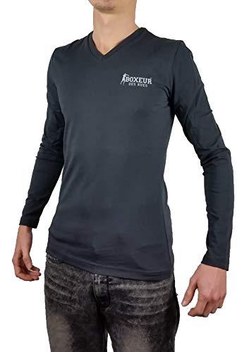 Boxeur des rues BXE2810F - Camiseta de Manga Larga con Cuello en V para Hombre