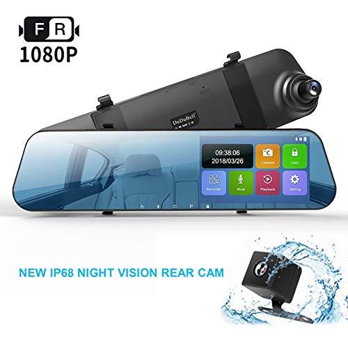 DuDuBell Verspiegelte Dashcam 10,9 cm Touchscreen Auto Kamera 1080P Full HD Auto Video Recorder Dual Lens 170° Weitwinkel mit G-Sensor Loop Aufnahme Parkmonitor