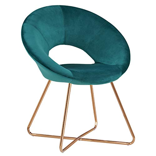 Duhome Modern Accent Velvet Chairs Dining Chairs Single Sofa Comfy Upholstered Arm Chair Living Room Furniture Mid-Century Leisure Lounge Chairs with Golden Metal Frame Legs 1 PCS Dark Green