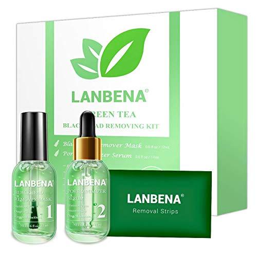 Blackhead Remover, LANBENA Blackhead Removing Kit, 3 in 1 Green Tea Oil Blackhead Removal Kit, 100 Pcs Blackhead Remover Mask Kit for Pores, Nose, Chins & Face