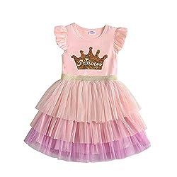 Light Pink Short Sleeve Tutu Dress with Colourful Ruffles Skirt
