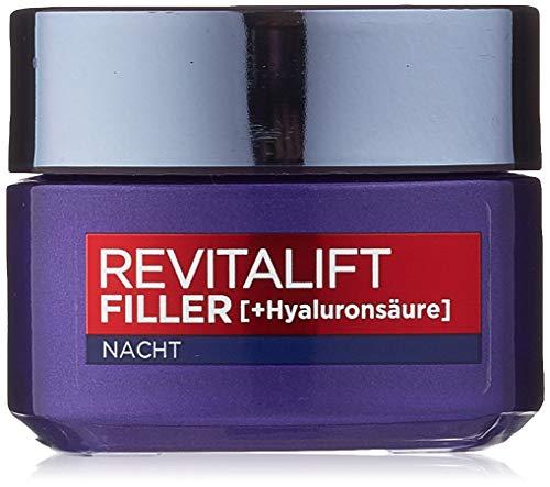 L'Oréal Paris Revitalift Filler Nachtcreme mit Hyaluronsäure, Aufpolsternde Hyaluron Anti-Age Gesichtscreme, Mildert Falten und strafft die Haut, 2x 50 ml