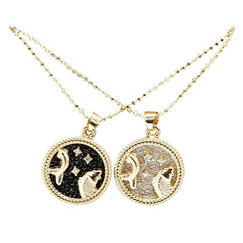 YosemitePersonalized Necklace for Women Men Couple 12 Constellation Round Necklace Gold Plate Pendant Accessory Lightweight Couples Necklace - Pisces