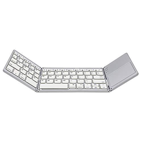 AURTEC Teclado Bluetooth Plegable con Teclado táctil inalámbrico, Recargable, portátil, inalámbrico, para PC, Tableta, Samsung, Android, iOS, Smartphone, Astilla