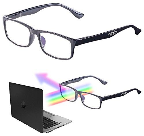 infactory Lesebrille: Augenschonende Bildschirm-Brille mit Blaulicht-Filter, 2,0 Dioptrien (UV Brille)