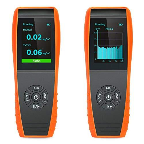 LKC-1000S+ monitor de calidad del aire para PM2,5 PM10 HCHO AQI partículas curva temperatura y humedad profesional, pruebas precisas de formaldebyde