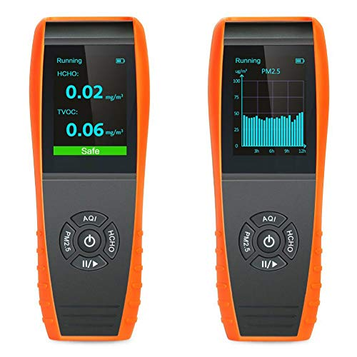 Lkc-1000s + Détecteur de qualité de l'air Intérieur professionnel Température et humidité moniteur précise les tests Formaldebyde avec Pm2.5/PM10/Hcho/Aqi/particules