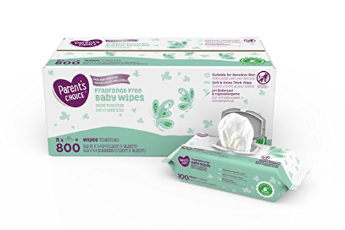 Parent's Choice Fragrance Free Baby Wipes, 8 packs of 100 (800 ct)
