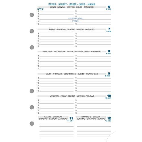 Exacompta - 18212E - Accessoire de recharge perforée - Recharge millésimé 12 mois -Janvier à décembre 2022 pour Exatime 17- Semainier 1 semaine sur 1 page Horizontale