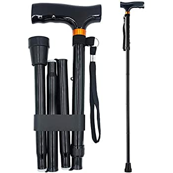 YAMTHR Cane Folding Walking Cane for Men Women Fathers Gifts Mothers Gifts Portable Walking Stick Adjustable Collapsible  Black
