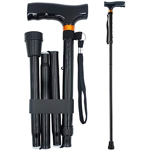 YAMTHR Cane, Folding Walking Cane for Men Women Fathers Gifts Mothers Gifts Portable Walking Stick Adjustable Collapsible (Black)