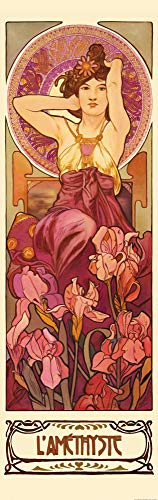 1art1 Alphonse Mucha - Die Edelsteine, Amethyst 1900, 1-Teilig Fototapete Poster-Tapete 250 x 79 cm