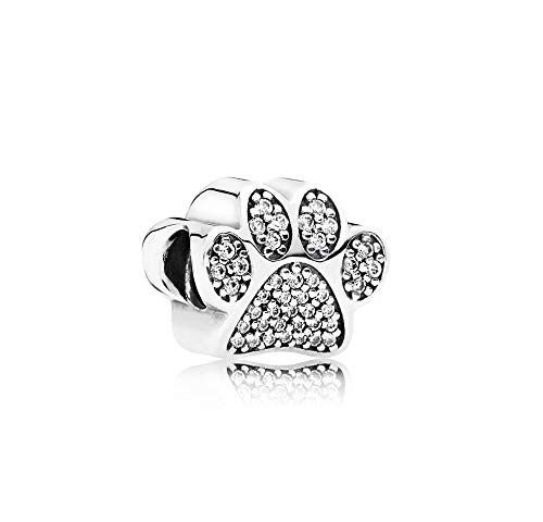 MiniJewelry Paw Print Charm for Bracelets Dog Cat Pet Animal Sterling Silver Charm for Women Sister Present