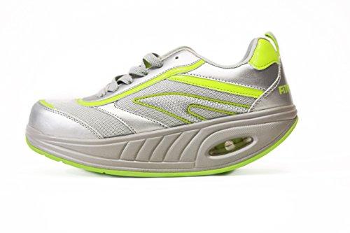 Win Direct 050002381201086, Running Shoe Mujer, Gris/Amarillo, 36 EU