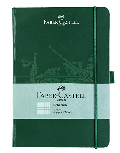 Faber-Castell 10316 Cuaderno DIN con 194 páginas, papel FSC de 80 g/m², cuadriculado, color verde A5