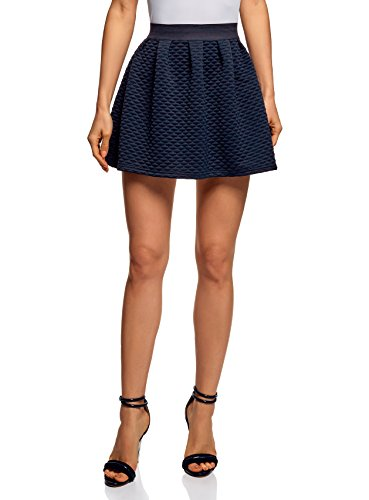 oodji Ultra Mujer Falda de Tejido Texturizado con Cintura Elástica