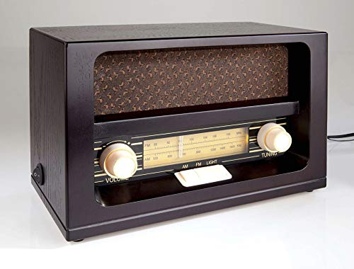 Nostalgische radio met echtehouten kast en oranje knoppen