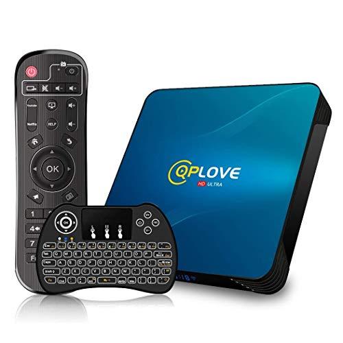 Android 10.0 TV Box, QPLOVE Q8 Android TV Box 4GB RAM 128GB ROM RK3318 Quad Core 64bits Dual WiFi 2.4G 5G BT4.0 USB 3.0 3D 4K Smart TV Box Con Mini Tastiera Retroilluminata